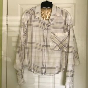 Free People oversized plaid top